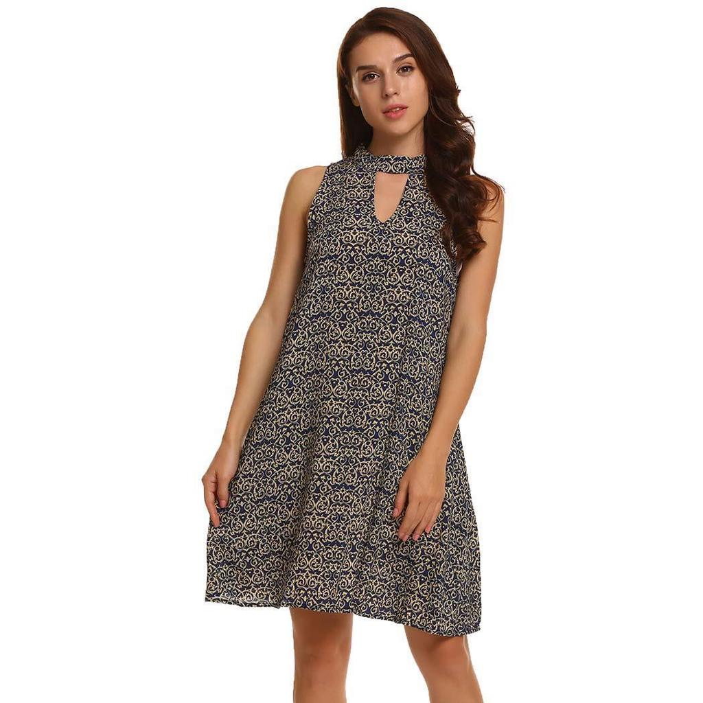 9685efcf6f4 Women Fashion O-Neck Sleeveless Floral Keyhole A-Line Dress-buy at a low  prices on Joom e-commerce platform