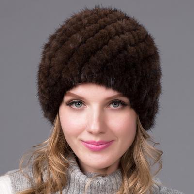 Estilo europeo visón piel piña forma sombrero moda tejer damas invierno  espesa cifrado orejera 1980143546a0