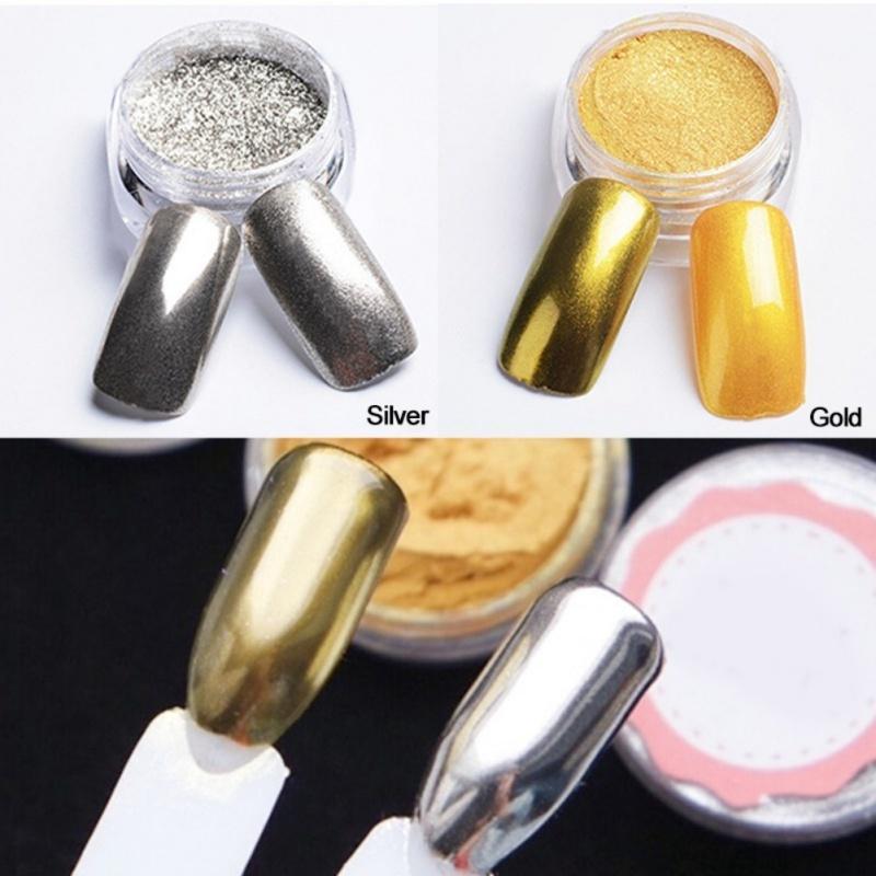 Arte del clavo decoración brillo polvo metálico espejo efecto uñas ...
