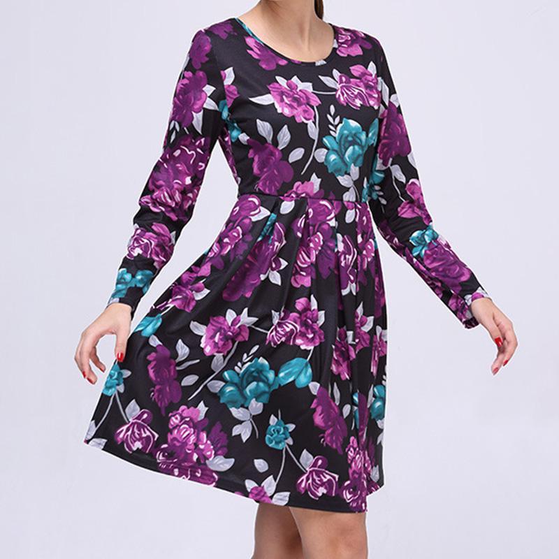 Línea de Dama manga larga alta cintura un pedazo Vestido - comprar a ...