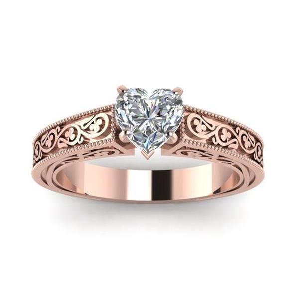 Жінки мода рожеве золото мідні кільця серце форму ясно прикраси ... 4f2d9f9aa6661