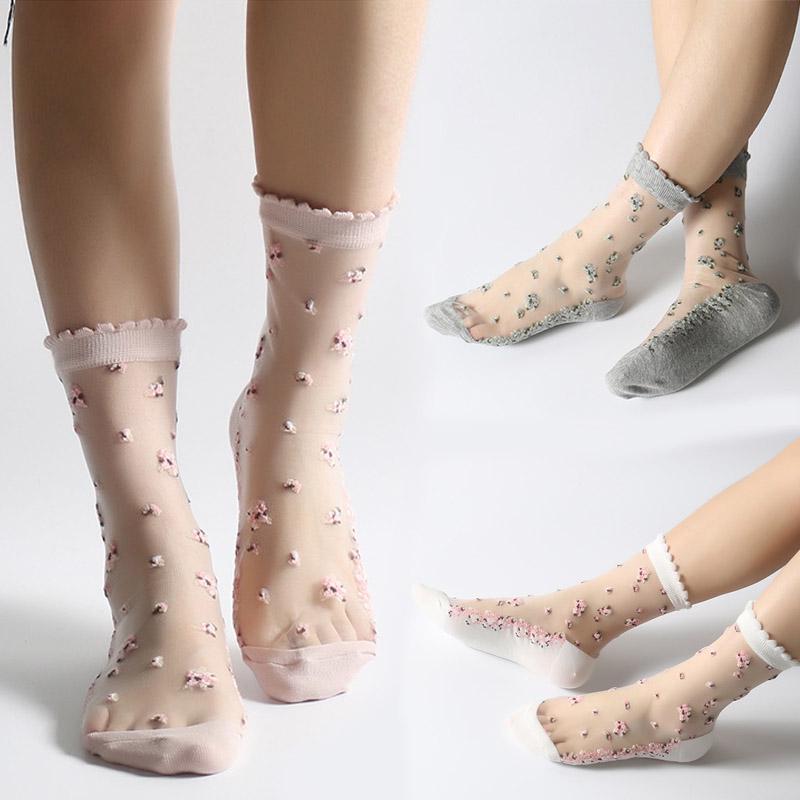 New Women Summer Lace Glass Silk Thin Transparent Short Flower Socks One Size