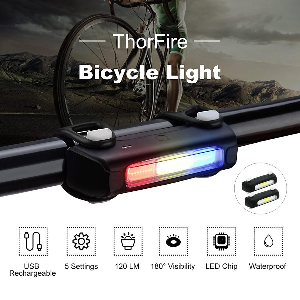 120LM USB Rechargeable Mountain Bike Taillight Night Cycling COB Warning Light