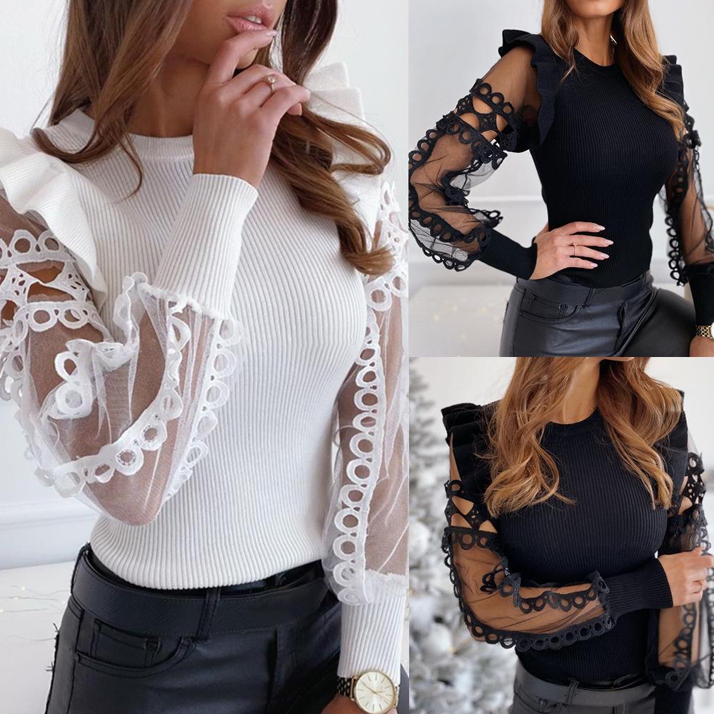 Fashion Women Mesh Ruffle Patchwork Long Sleeves Casual Tops Shirts Blouses