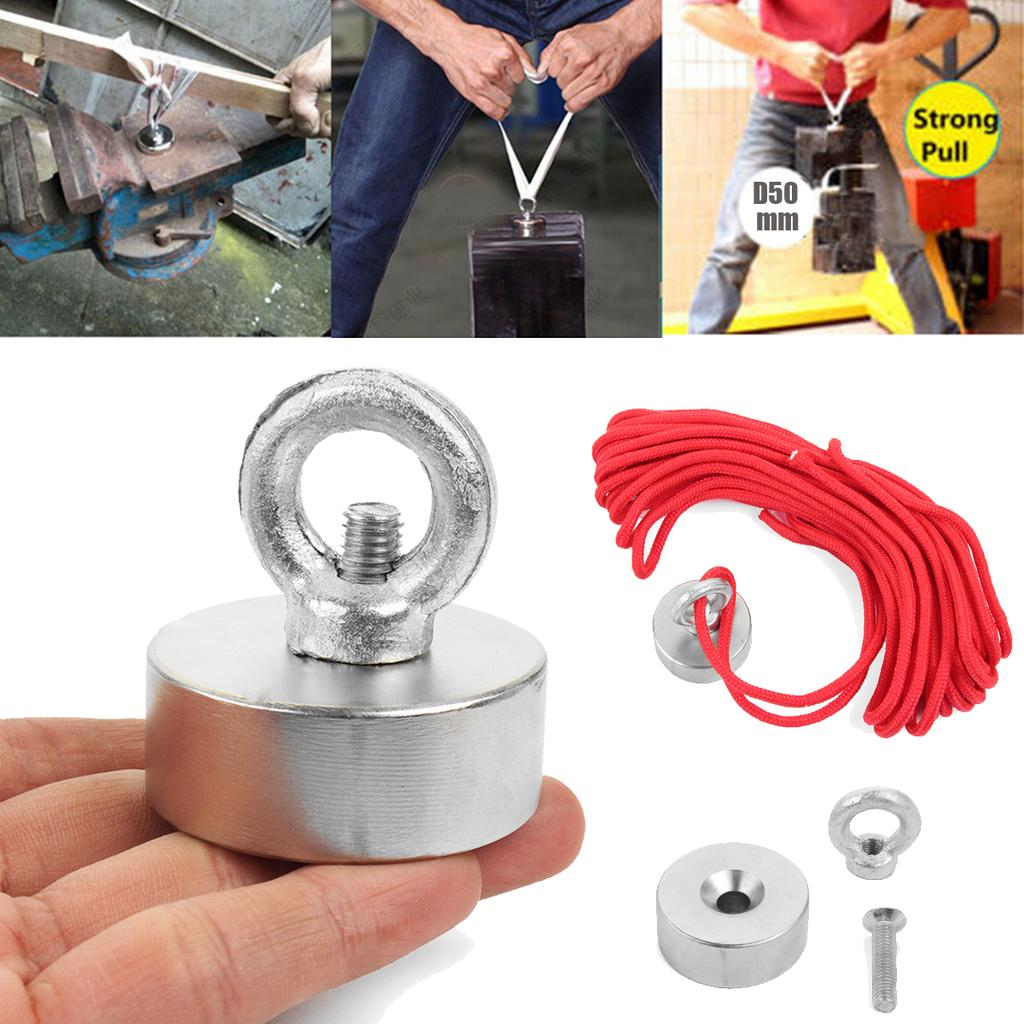 200KG Strong Recovery Magnet Set Neodymium Salvage Metal Detect 20M Rope GLVS