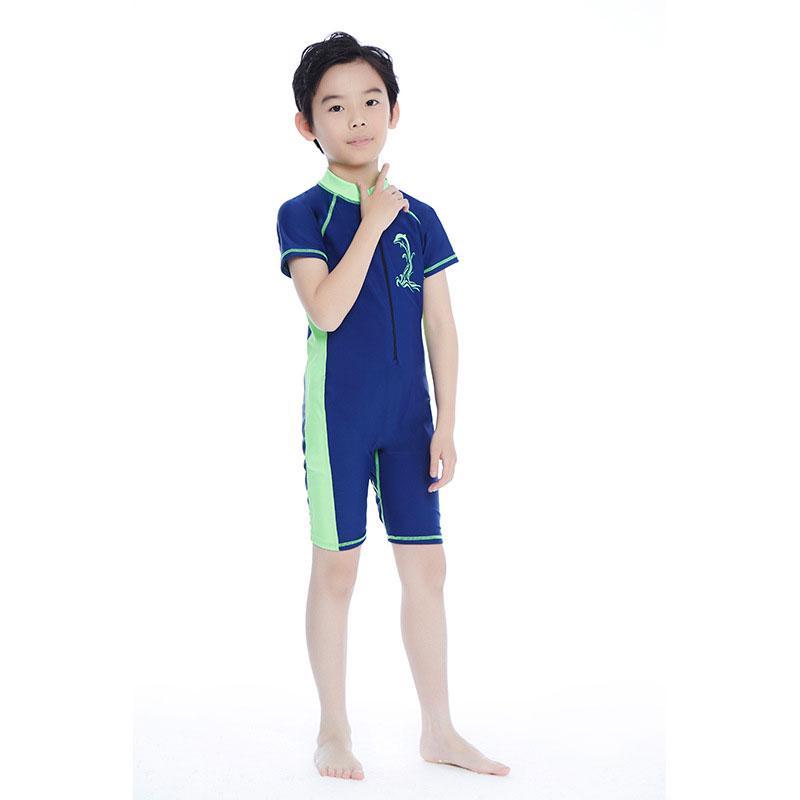 Children Boys Girls Split Beach Wear Toddlers Cartoon Dolphin Print Sun Protection Long Swimsuit Rashguard