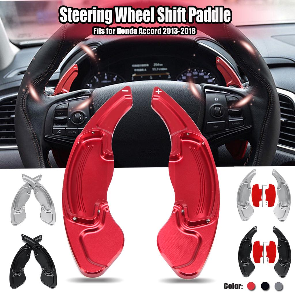 Aluminum Red DSG Paddle Shifters Extensions Trim 2pcs for Honda Accord 2013-2018