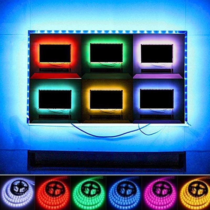 USB Power СВЕТОДИОДная полоса 3528SMD 0.5 / 1M Лента Телевизор Фон Свет DIY Рождественский свет украшения фото