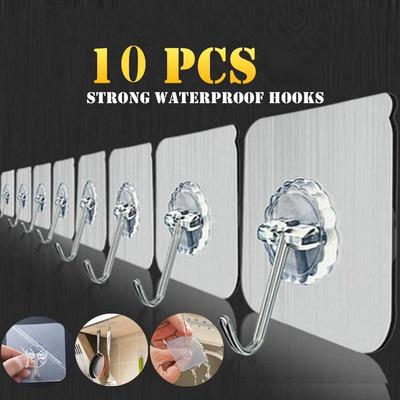 10Pcs /5Pcs Adhesive Wall Reusable Duty Sticky Hooks For Kitchen And Bathroom