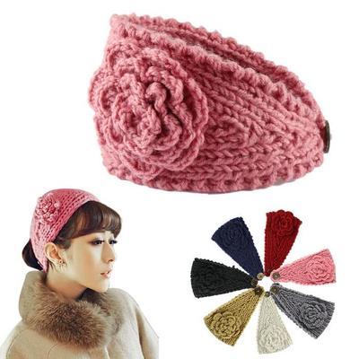 Las mujeres turbante ganchillo punto oído de invierno diadema ...