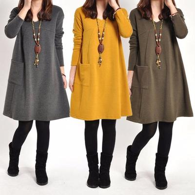 613894e63660 Women s Fashion Winter Long Sleeve Pocket Tunic Tops Loose Casual Cotton  Pregnancy Dress