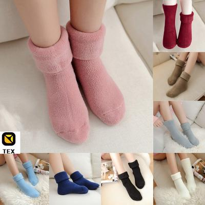 3 Pairs Ladies Winter Bed Sock Solid Fluffy  Warm Soft Thick HomeCandy ColorUK S