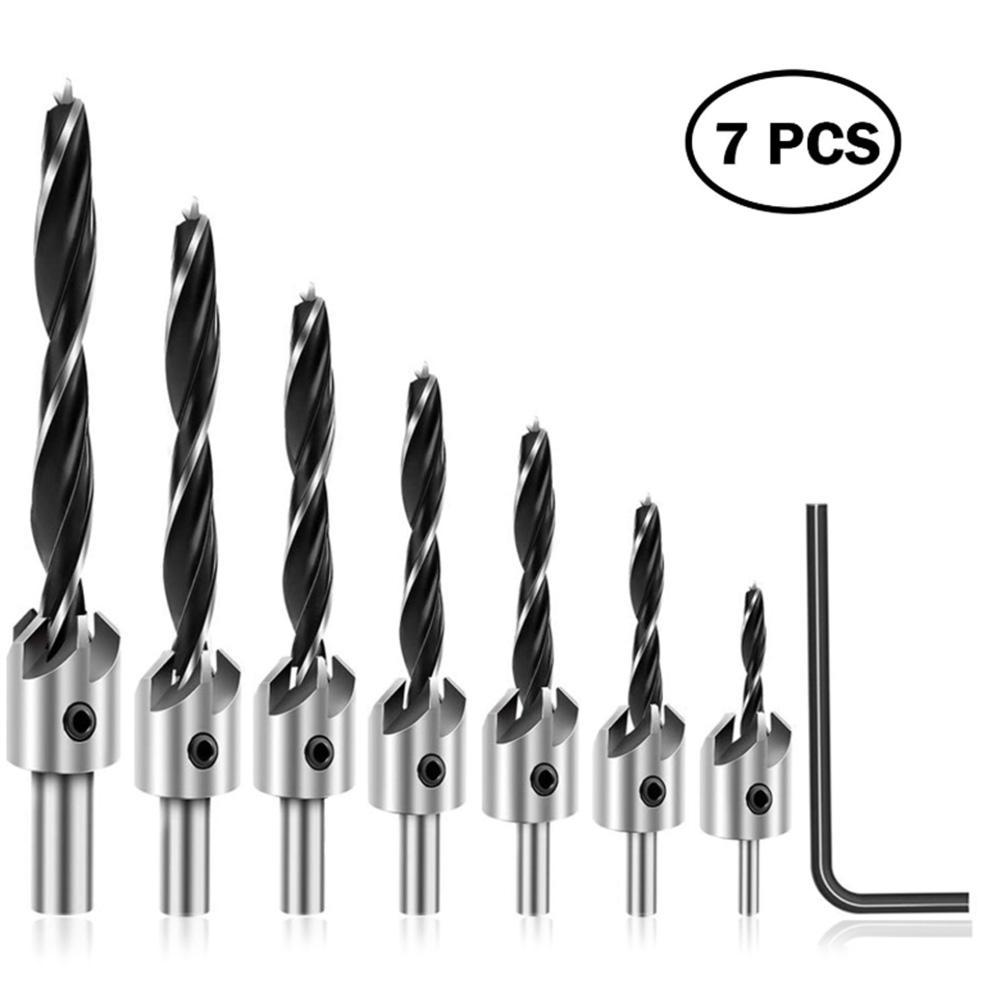 7pcs HSS Screw Countersink Drill Bit Set Pilot Hole For Plastic Wood Bits Tools