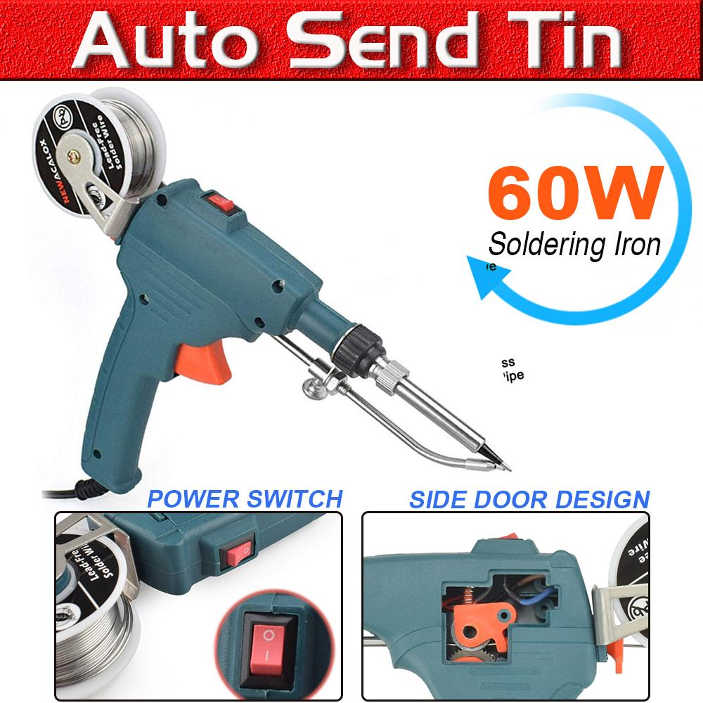 100W EU Automatic Electric Soldering Iron Tin Gun Rework Station Solder UK