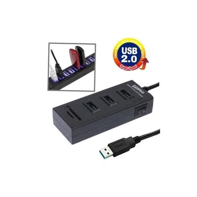 Computer /& USB Accessories 2 in 1 USB 2.0 TF//SD Card Reader /& 3-Port HUB Cable Length: 80cm USB Hubs Black Color : Black