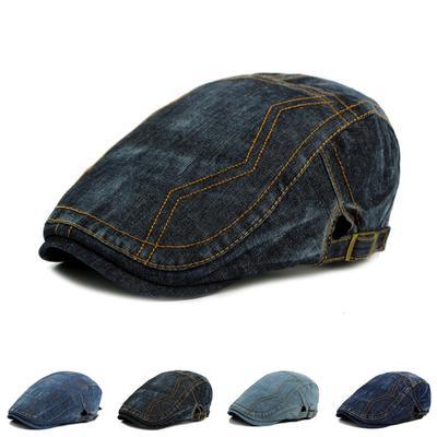 ¡Caliente! Simple Color sólido hebilla gorras planas calentador boinas  sombrero de la boina para 13f30e838f3