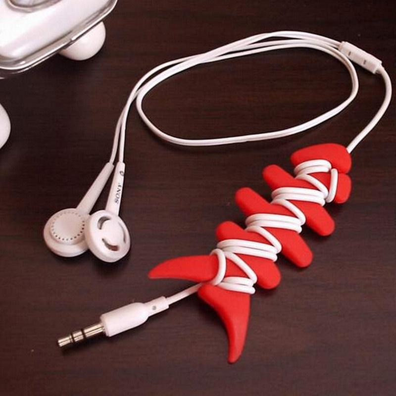 Random color bone shaped cable organizer cable holder earphone wire organizer