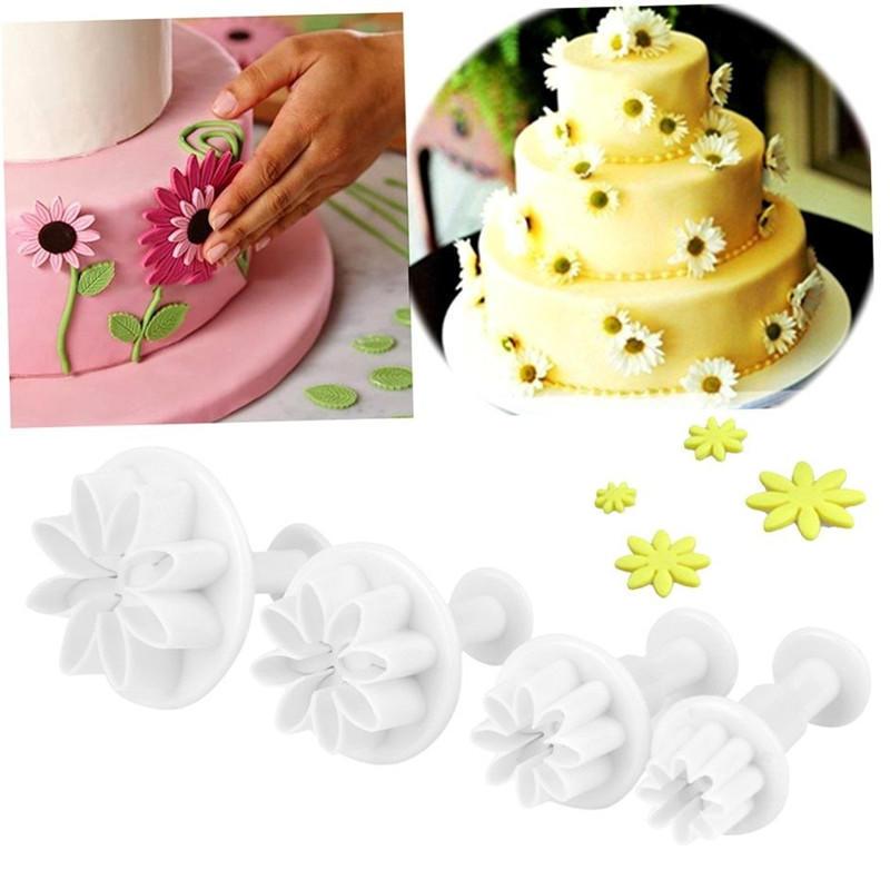 4pcs菊花弹簧压模 翻糖蛋糕印花模 蛋糕装饰模具 烘焙工具