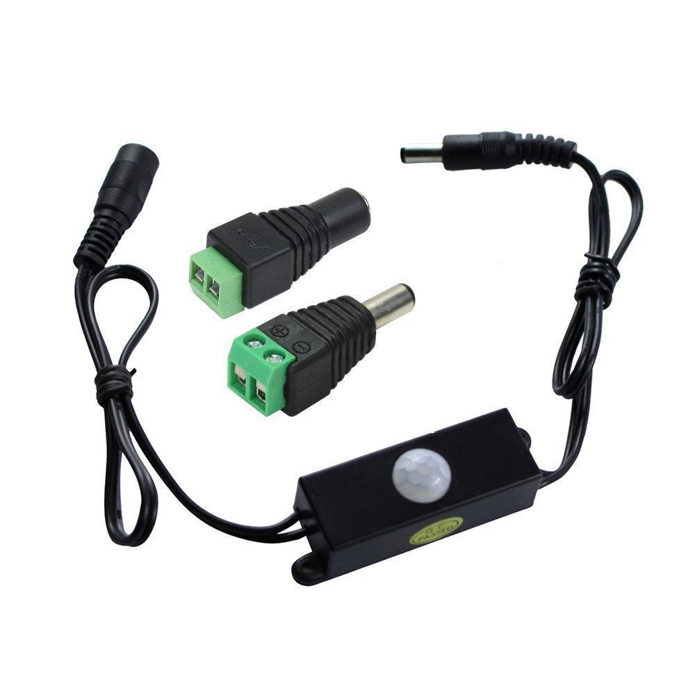 PIR DC 5V-24V Mini 4A PIR Detector de movimiento por infrarrojos escaleras interruptor para pasillo detector de movimiento sensor PIR iluminaci/ón de entrada interruptor para tira LED