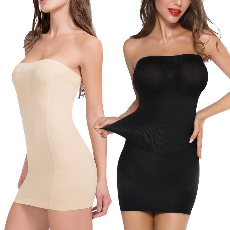 Womens Seamless Strapless Shapewear Slip for Women Tummy Control Full Body Shaper Slip Under Dresses