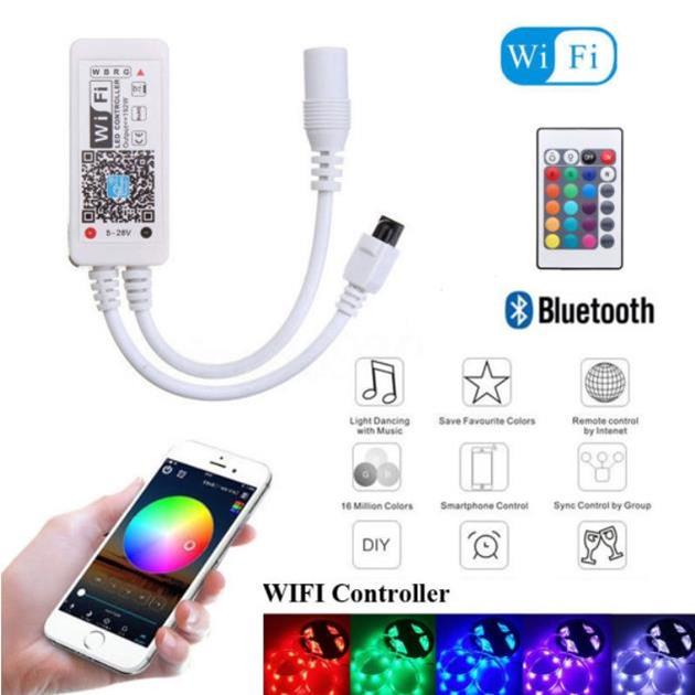 Mini Bluetooth//Wifi LED Controller/&Remote For 3528 5050 RGB//RGBW LED Strip Light
