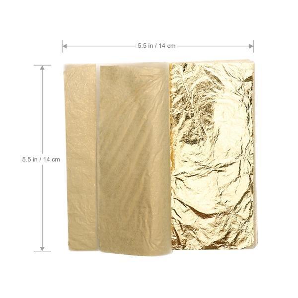 50Pcs Blue Color Gold Leaf Foil Paper For Art Gilding Crafting Decoration 9x9cm