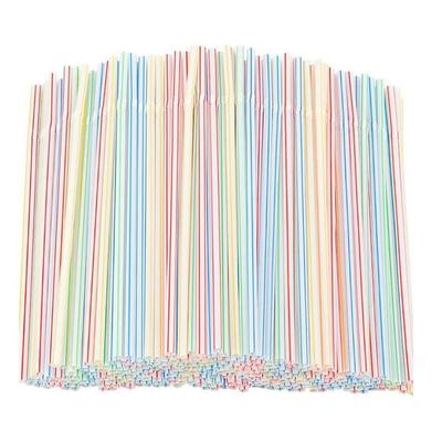 100pcs Plastic Drinking Straws 8 Inches Long Multi-Colored Striped Bedable Disposable Straws Party Multi Colored Rainbow Straw