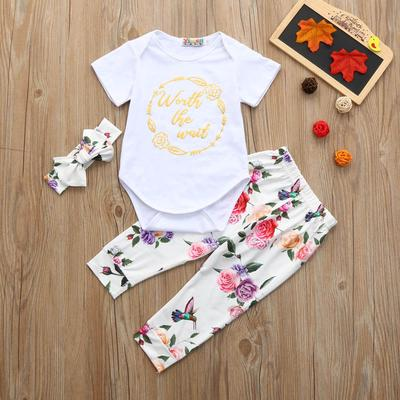Kids Baby Girl Jumpsuit Romper Floral Pants Headband Outfits Clothes Set