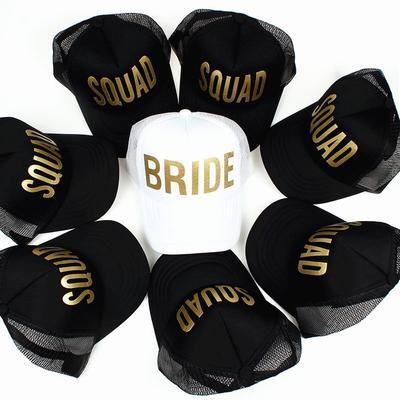 ab2003a174fb1 BRIDE SQUAD Gold Print Mesh Women Wedding Baseball Cap Party Hat Brand  Bachelor Club Team cap