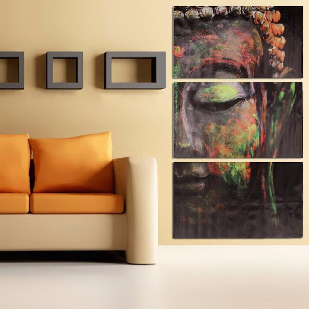 Set of wall paintings buddha triptych frameless picture home decor poster