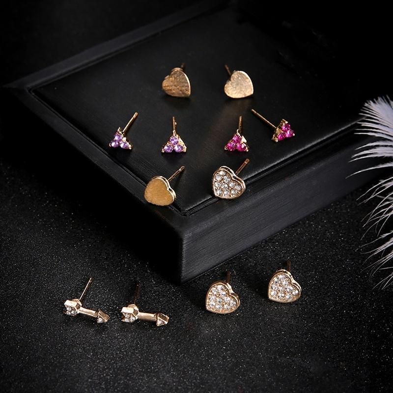 Fashion simple alloy full diamond flower love geometric pattern five pairs of earrings earrings earrings