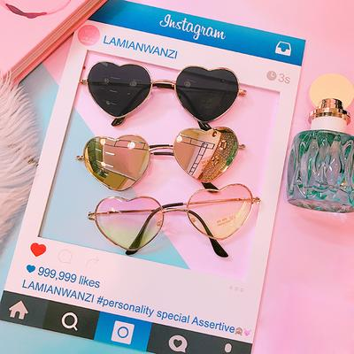 c8d1da1829 Corea del estilo creativo amor melocotón corazón patrón personalidad verano  degradado transparente gafas de sol