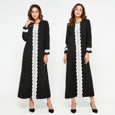 e92af67fa9553db Женщины кружево сращивания Абая Исламской Kaftan мусульманские платье  турецких длинные платья