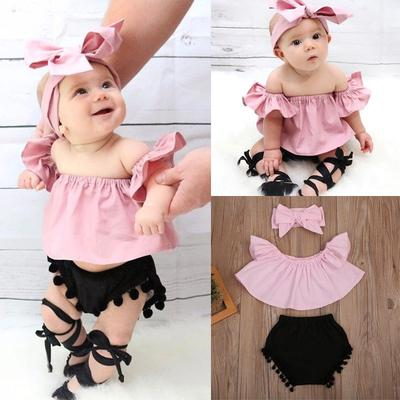 UK Autumn Clothes Toddler Kid Baby Girl Lace Ruffle Top Shirt Short Pants Outfit