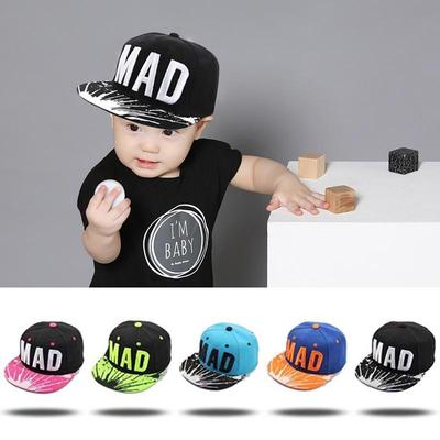 Snapback Cap Children Embroidery Mad Letter Baseball Caps Baby Boys Girls Flat Hip Hop Hats