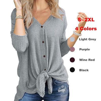 Cocobla Women Button Knit Cardigan Loose Tie Knot Waffle Sweater V Neck Henley Shirt