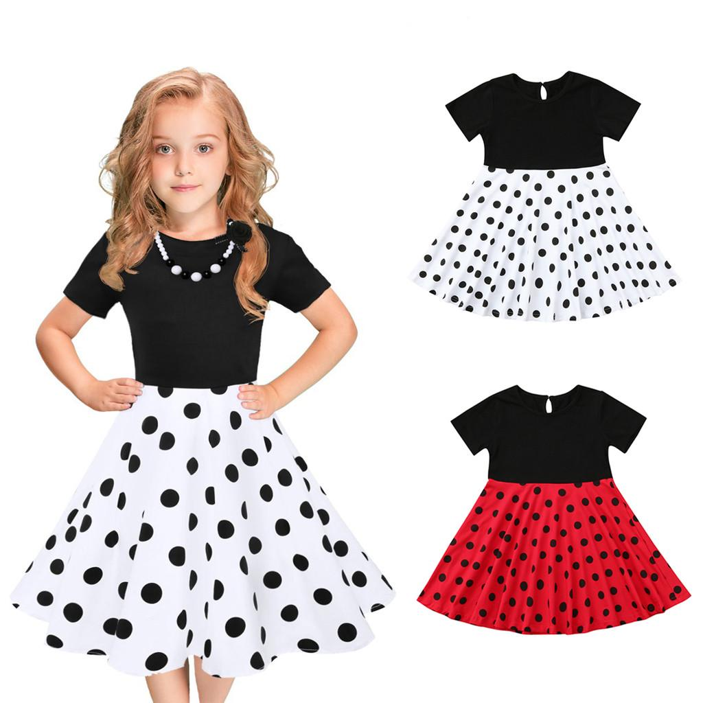Girls Vintage Polka Dot Swing Rockabilly Dress for Kids Wedding Pageant Holiday