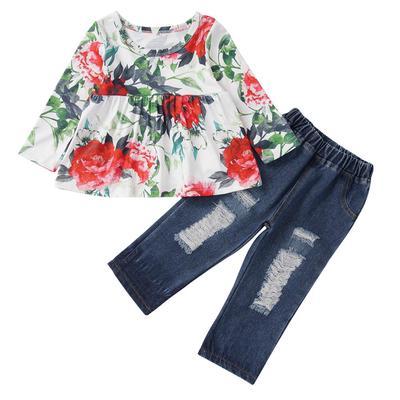Kids Girls Floral Print Short Sleeve T Shirt Top+Elastic Waist Bell Bottom Pants Outfits Sets 2pcs