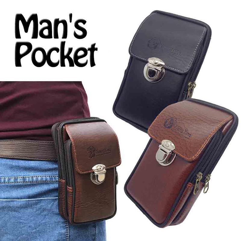 Men Business Phone Holder Bag PU Leather Zipper Flap Waist Pack Belt Mini Wallet