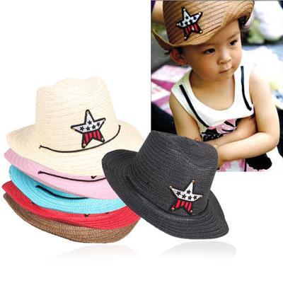 bf84ae557ce Children Girl Vintage Straw Braid Cowboy Sun Hat Cap Star Applique Topee