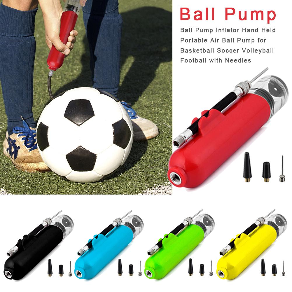 Ball Inflator Inflating Hand Air Pump For Football Soccer Basketball Needle