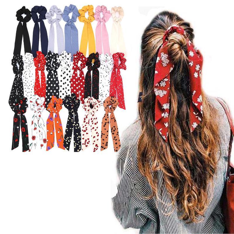 Fashion Ribbon Elastic Rope Solid Scrunchie Hair Band Bow Headband Scarf Ties