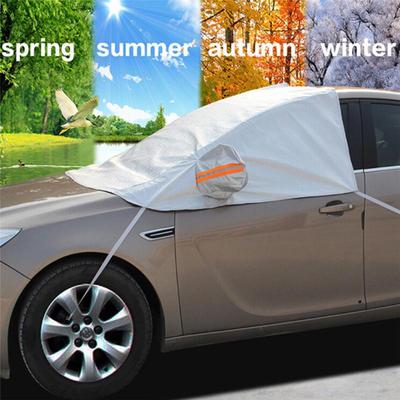 Car Windscreen Cover,2pcs Car Rear Windshield Magnetic Snow Cover with Two Mirror Covers and Magnets,Universal Snow Frost Sun UV Water Resistant Thick Front and Back Windscreen Protector Cover