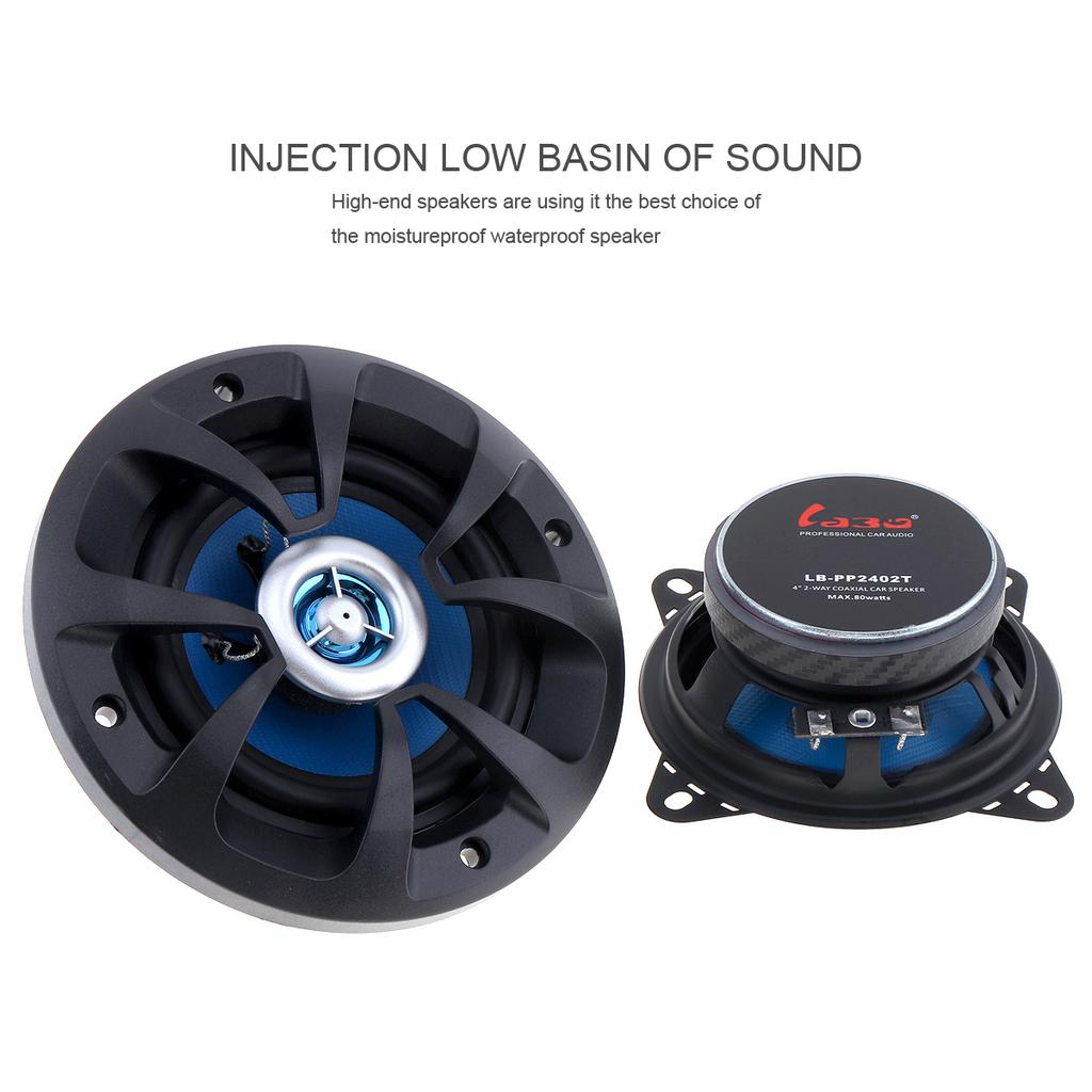 2pcs 4 Inch 80w High End Car Coaxial Speakers 2 Way Car Audio