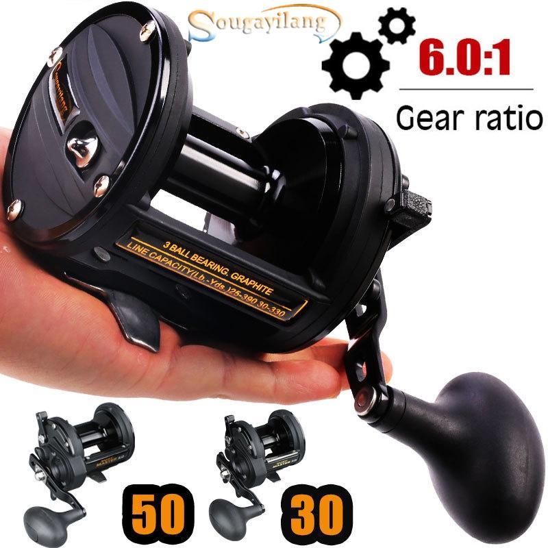 Trolling Reel 6 0:1 Gear ratio alta velocidade carretel de pesca grande  jogo Lure Reel pesca de água salgada tackle