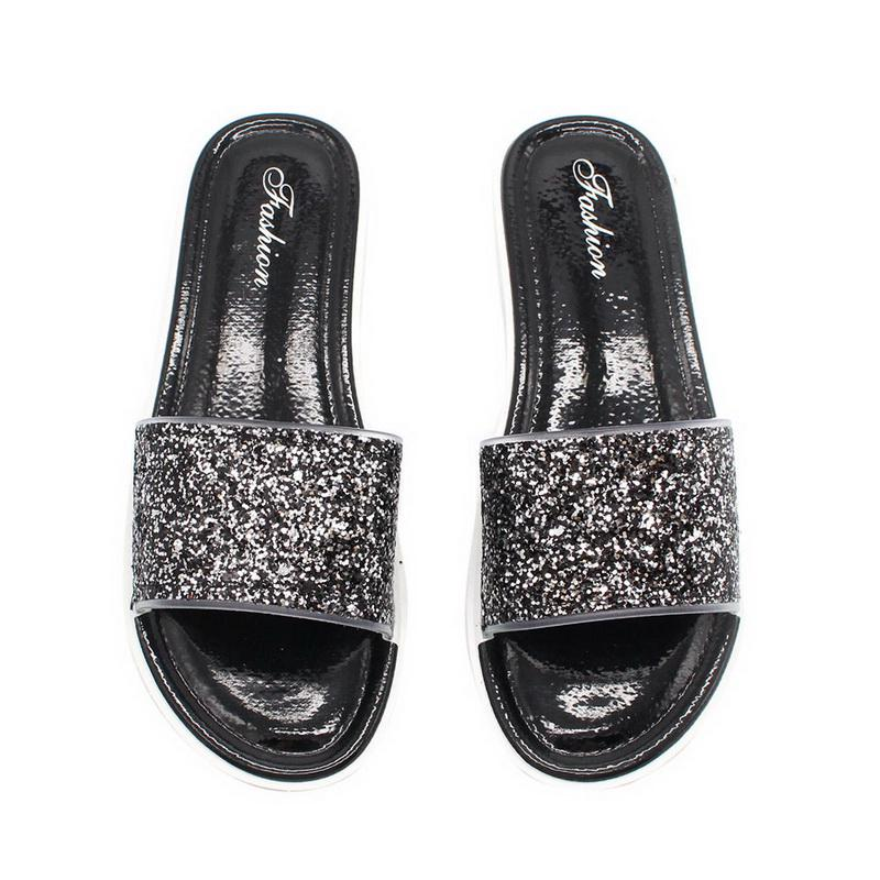Women/'s Cute Summer Rainbow Glitter Fashion Slip On Casual Flip Flop Sandals