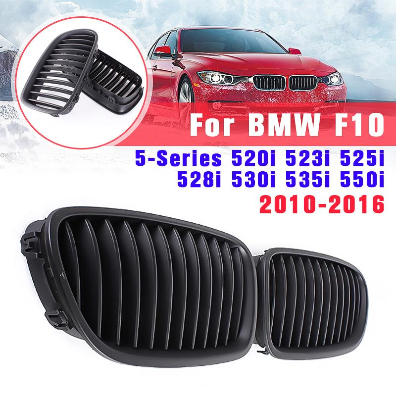 perfk Front Kidney Grille Hood Grills for BMW F10 F18 5-Series 528i 530i 535i 550i Gloss Black