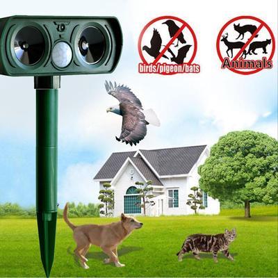 NEW Solar Powered Ultrasonic Repeller Animal Chaser Outdoor Use Garden Repellent Cat Dog Fox Sonic Deterrent Scarer Repellent