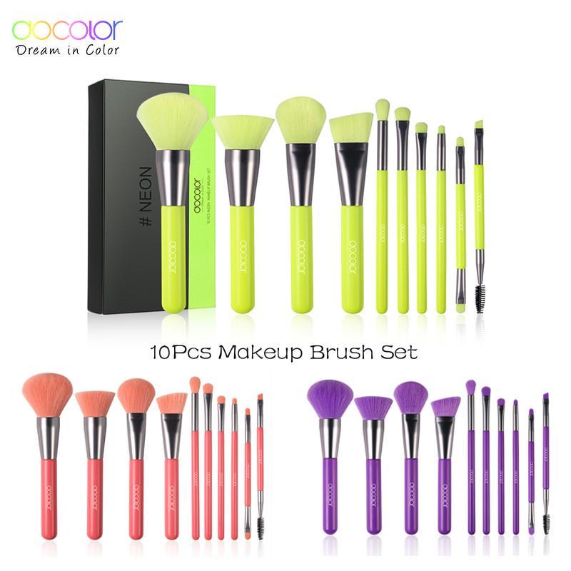 Docolor 10pcs Neon Makeup Brushes