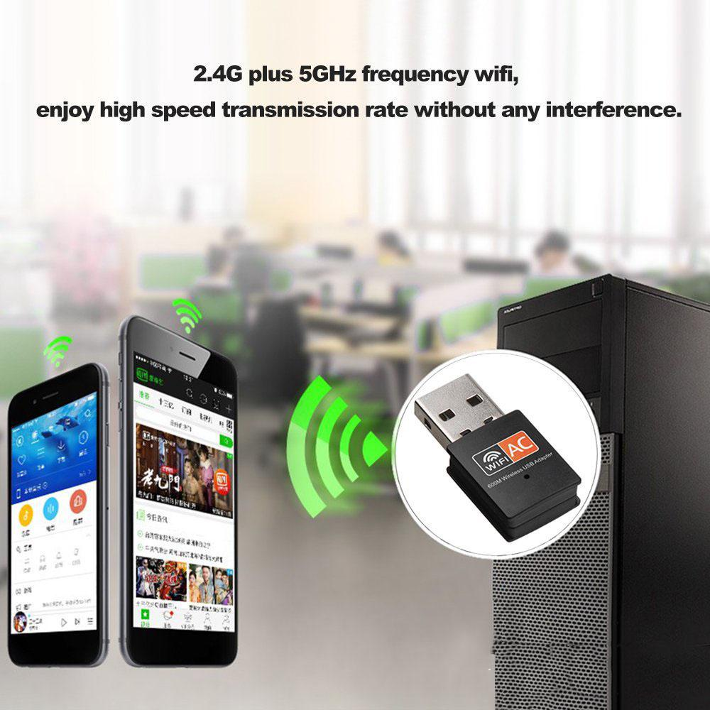 Dual Band 200Mbps 200.200ac 20.20/20GHz PC WiFi USB Adapter Wireless Net LAN  Dongle